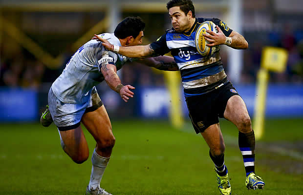 Horacio Agulla of Bath is tackled by Bryce Heem of Worcester
