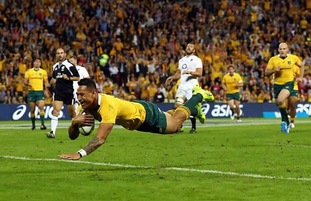 Israel Folau scored for Australia against England