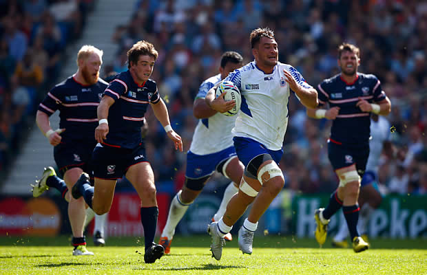 Jack Lam makes a break for Samoa in Brighton