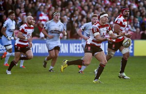 James Hook of Gloucester passes the ball out