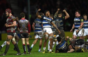 Levi Douglas celebrates a Bath try
