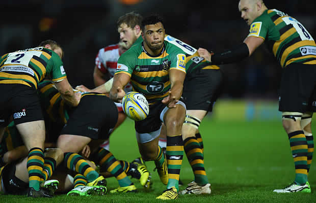 Luther Burrell clears the ball for Northampton Saints