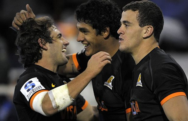 Manuel Montero celebrates a try with his team mates