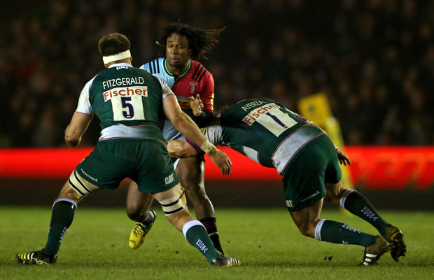 Marland Yarde tries to break through Leicester's defence