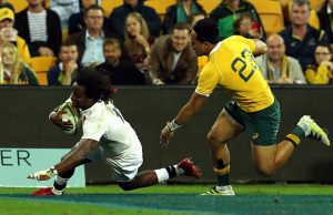 Marland Yarde scores a try for England