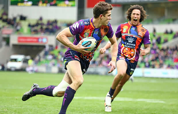 Matt Duffie in action for Melbourne Storm