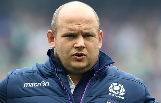 Scotland's Mike Cusack lines up ahead of a 2015 Rugby World Cup warm up