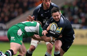 Mike Delany in action for Newcastle Falcons