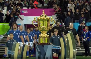 The All Blacks walk out with Namibia