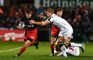 Richard Wigglesworth on the attack for Saracens