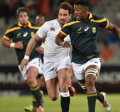 Sikhumbuzo Notshe and Danny Cipriani race for the ball
