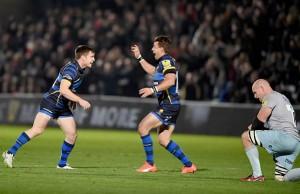 Tom Heathcote celebrates a drop goal for Worcester