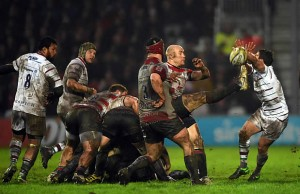 Willi Heinz clears the ball for Gloucester