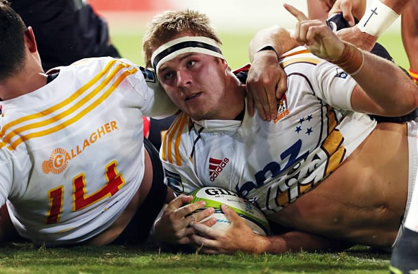 Sam Cane scores a try for the Chiefs